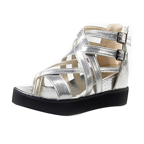 Transer® Damen Sandalen Mittlere Ferse Römische Gürtel Netz Künstliche PU+Gummi Silber Schwarz Gold Sandalen (Bitte achten Sie auf die Größentabelle. Bitte eine Nummer größer bestellen) Silber