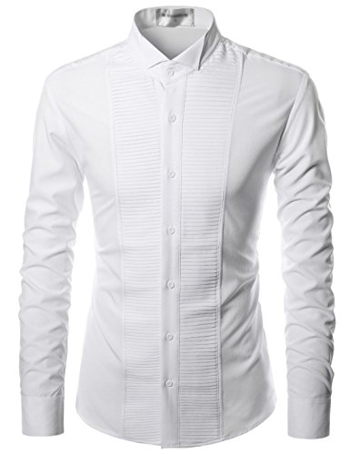 Nearkin Mens Plated Stretchy Slim Fit Button Up Dress Shirts