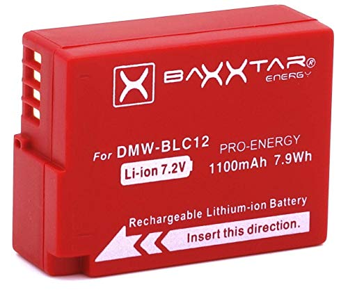 Baxxtar Pro Akku (1100mAh) - Ersatz für Akku Panasonic DMW BLC12 E - intelligenter Akku - Lumix DC FZ1000 II G91 DMC GX8 G70 G81 G7 G6 G5 FZ2500 FZ2000 FZ1000 FZ300 FZ200 usw. (Akku Für Panasonic Lumix)