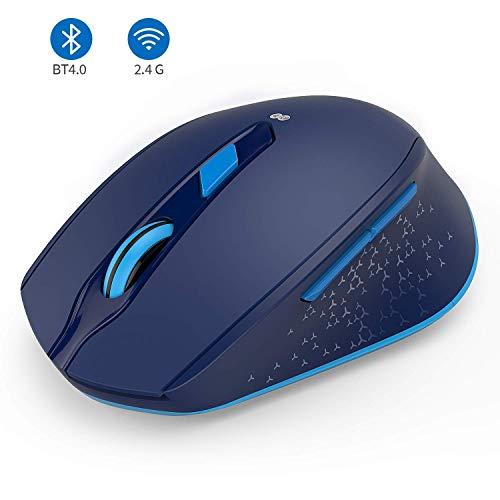 seenda 2.4G+Bluetooth Dual-Modus Kabellose Maus, ergonomische und leise Maus für PC/Laptop/Android Tablet/iPad(iOS13 oder iPad OS sind erfordlich), Blau