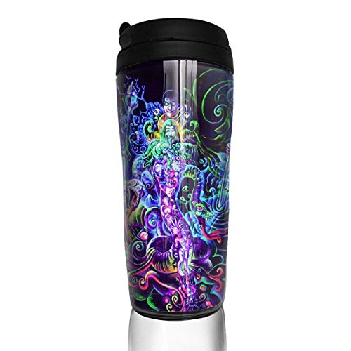 Travel Coffee Mug Psychedelic Trippy5 12 Oz Spill Proof Flip Lid Water Bottle Environmental Protection Material ABS