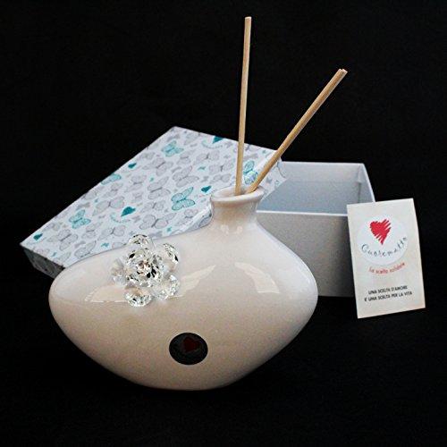 Dlm24714-trasparente profumatore in ceramica con fiore cristallo_trasparente bomboniera
