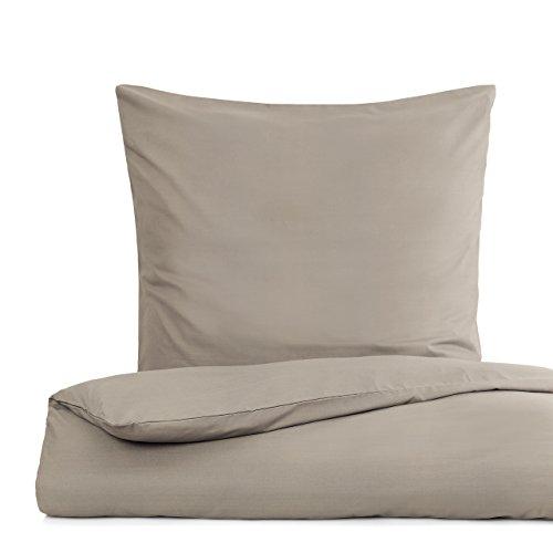 Lumaland Premium Bettwäsche Everyday Ganzjahres Bettbezug mit YKK Reißverschluss 155x220cm & Kissenbezug 80x80cm Beige