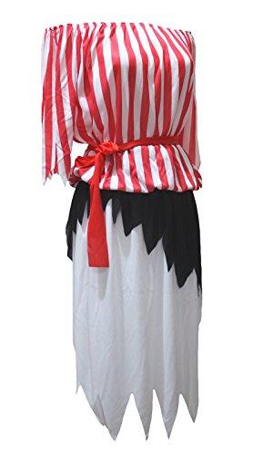 n-Kostüm rot weiß Pirate Lady Party Dress Up für Frauen Gr. One Size, rot ()