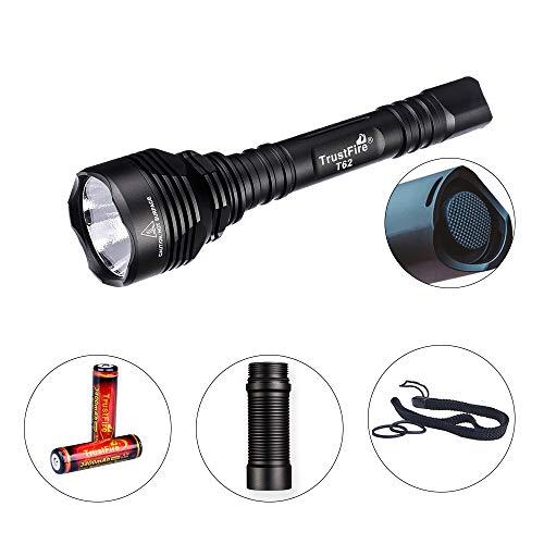 TrustFire T62 LED Taschenlampe 3600 Lumen Superhell mit XHP70 CW LED bis 431 Meter und Wasserdicht IPX8 taktisch für die Jagd und viele Sportaktivitäten (2 x 18650 Akkus 3400mAh enthalten)