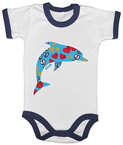 HARIZ Baby Body Ringer Delfin Herzen Süß Tiere Dschungel Plus Geschenkkarte Weiß/Navy Blau 3-6 Monate -