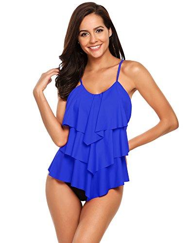 ADOME Damen Tankinis Badeanzüge sportlich Bikini-Sets Zweiteilige Bademode einfarbig Beachwear mit Slip, XXL, Dunkelblau