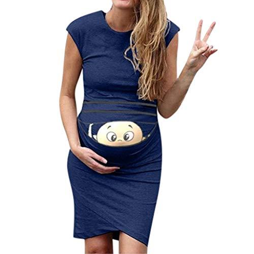 Sonnena Damen Drucken Schwangerschaftskleid, Damen Ärmellos Rundhals Stillendes Umstandskleid Mutterschaft Krankenpflege Kleider Casual Gemütlich Sommerkleid-Kleidung -