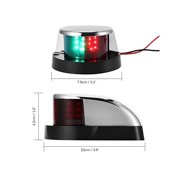 ALLOMN Boat Navigation Light 12V LED Navigation Lamp Red and Green Marine Light for Boat Yacht Stainless Steel Bow… 8