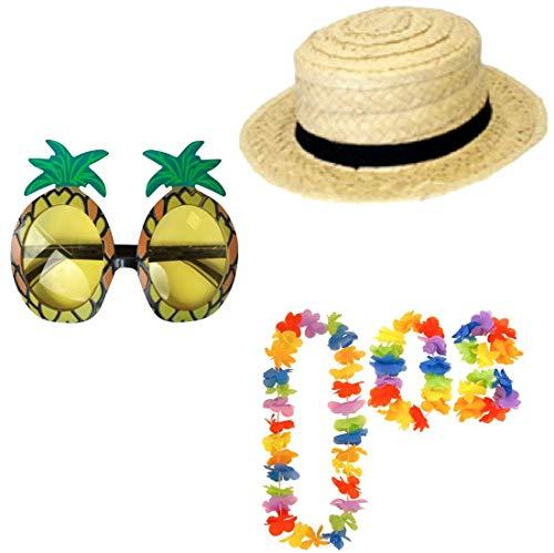 Islander Fashions Boater Strohhut Brille und Hula Lei Hawaiian Luau Party Kost�mzubeh�r Einheitsgr�sse (Hawaiian Kostüm Für Jungen)