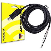ACTECOM® INTERFAZ ADAPTADOR USB PARA GUITARRA GRABACION PC JACK 6,5MM