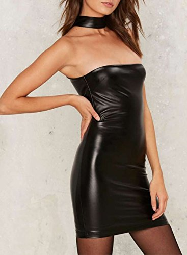 ACHICGIRL Women's PU Strapless Choker Neck Bodycon Night Club Dress Black