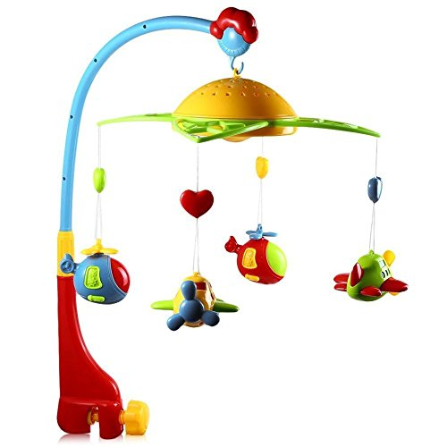 360 Degrees Rotating Baby Rattles Musical Star Projector Hanging Bell Crib Toy