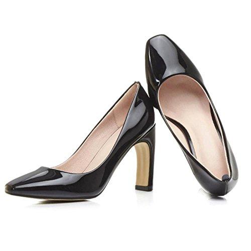 COOLCEPT Damen Fashion Faux Patent Bright Color Hochzeit Pumps Party Shoes Schwarz