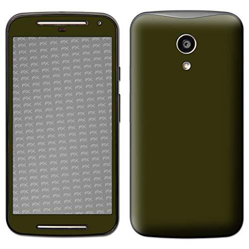atFolix Skin kompatibel mit Motorola Moto G 2. Generation 2014, Designfolie Sticker (FX-Soft-Olive), Matte Oberfläche