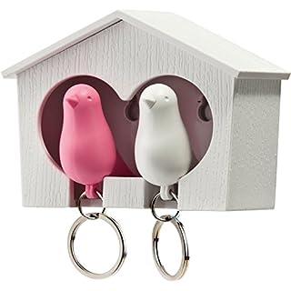 Unbekannt Qualy QL10124W-P Schlüsselbrett Schlüsselahnhänger Duo Sparrow Key Ring, weiß/rosa