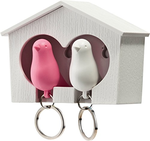qualy-duo-sparrow-key-rings-pink-and-white-toy-japan-import
