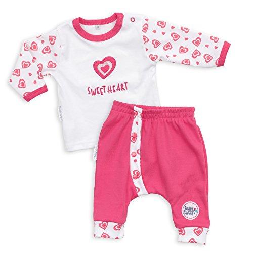 Baby Sweets Baby Set Hose + Shirt Mädchen weiß pink | Motiv: Sweet Heart | Marke Babyset 2 Teile mit Herzmotiv für Neugeborene & Kleinkinder | Größe: 3 Monate (62) - Marke Kleidung, Baby-mädchen