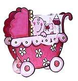 20Stück Geschenktüten und Präsentationen Kinderwagen Baby Pink billige Staubsaugerbeutel für Geschenke Kinder, Babys, Taufe, Baby Shower Mädchen