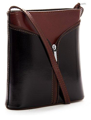 BHBS Kleine Damenumhängetasche aus echtem italienischem Leder 18 x 20 x 6 cm (B x H x T) Coffee Black