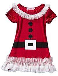 Mädchen Kinder Weihnachten Kleid Weihnachtsmann Kostüm Festkleid Geschenke 2f9678fb5e