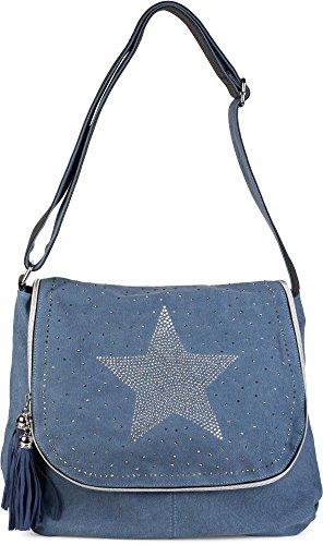 styleBREAKER Umhängetasche mit Strass Stern und All Over Glitzersteine am Deckel, Schultertasche, Handtasche, Damen 02012067, Farbe:Jeansblau -
