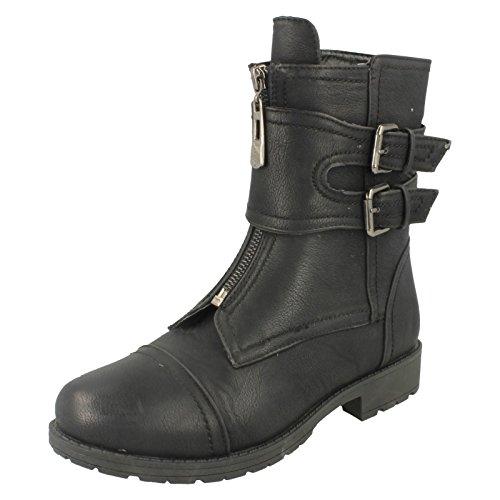 Spot On Damen Biker-Style Boots mit Reißverschluss (37 EU) (Schwarz)