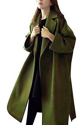 Les Femmes Élégantes Épaississement Maxi Manteau Manches Longues Extérieur De La Tenue De Revers green