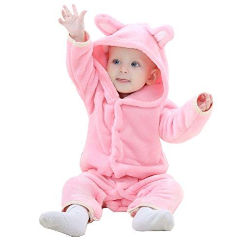 ARAUS Baby Overall Jumpsuit Strampler Bär Pyjama Schlafanzug 0-24 Monate Rosa 18-24 ()