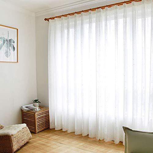 Jiaoxm tendine semitrasparenti, tende in tulle di lino, tende bianche minimaliste moderne, per camera da letto/soggiorno/hotel/bar, 1 pannello,a,300×270cm(118×106inch)
