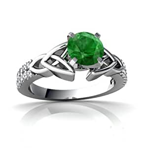 Genuine Emerald 14ct White Gold Engagement Ring - Size R