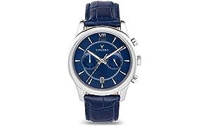 Montre-bracelet de luxe Vincero pour homme — Cadran bleu avec bracelet en cuir bleu - Montre chronographe 43mm - Mouvement à quartz japonais