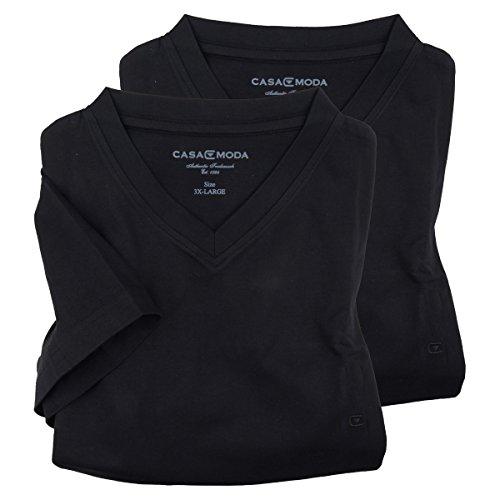 Doppelpack V-Ausschnitt T-Shirt schwarz Casa Moda Übergröße Schwarz