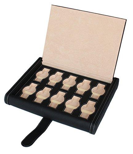 Reisebox Uhrenbox für 10 Uhren Uhrenschatulle Leder schwarz