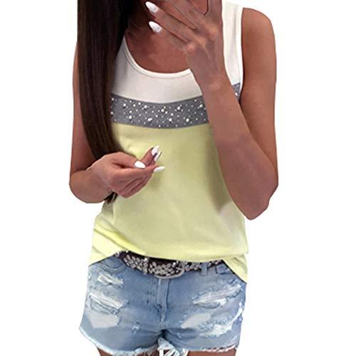 YCQUE Frauen Mädchen Täglich Lässig Passende Lässige Bluse Sommer Nähte Farbe Oansatz Sleeveless Tank Crop Shirt Bluse Top Weste (Passende Shirts Für Mädchen)
