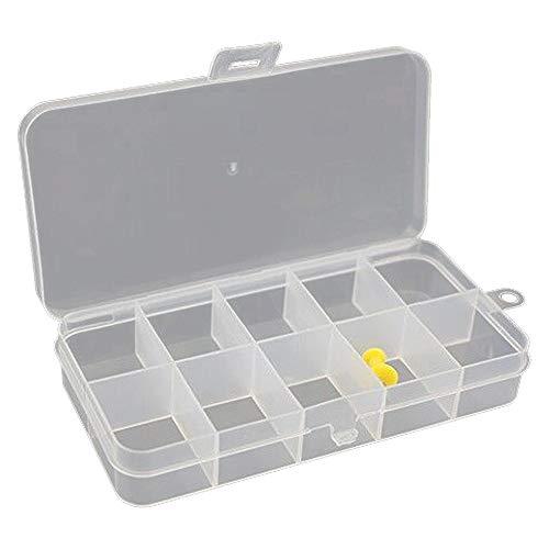 jjonlinestore- 10Fächer weiß transparent Pille Box Tablet Zubehör Ringe Perlen Craft Nail Lagerung Organizer Spender-Set von 3