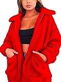 ECOWISH Damen Mantel Revers Faux Für Lose Langarm Outwear Tasche Reißverschluss Winterjacke Mode Kurz Coat Rot M