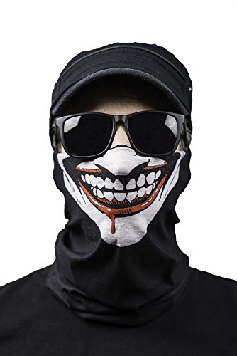Premium Sturmmaske – Face Shield – Multifunktionstuch + Maske für Motorrad – Ski – Fahrrad – Snowboard – Paintball – Halstuch – Sturmhaube – Totenkopf – Clown verschiedene Designs