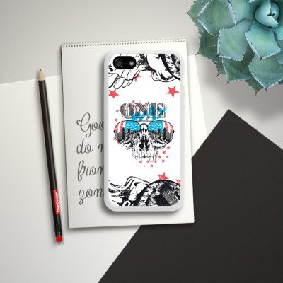 Apple iPhone 5s Housse étui coque protection Tête de mort Amérique Lunettes de soleil Housse en silicone blanc