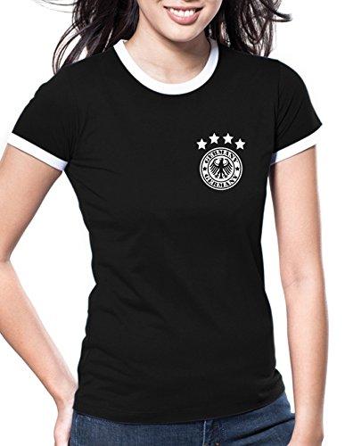 Luckja EM 2016 Deutschland Trikot Wunschname und Wunschnummer Motiv 14 Retro Damen T-Shirt (Götze Damen-t-shirt)