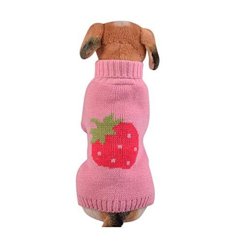 Haustier-Pullover,Pet Erdbeer Strickpullover,Hund Rollkragen Hundepullover Winter Mantel Strickpullover Warm Hunde Sweater Weste T-Shirt Katze Indoor Kostüm für Kleinen Mittel Groß (Rosa, - Großer Hunde Kostüm