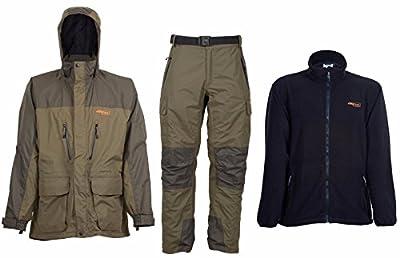 Airflo Defender Fly Fishing Waterproof 3/4 Jacket & Trouser with Free Fleece Jacket by Airflo