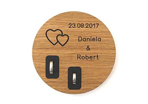 STREIFHOLZ Ringkissen, Ringschale zur Hochzeit aus Holz mit Namen und Datum (Ringkissen personalisiert, Eiche)