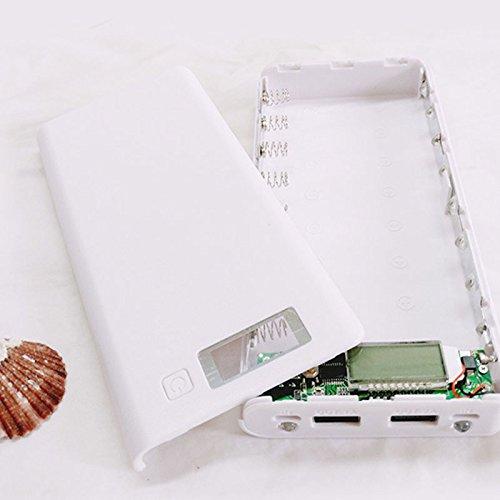 k 8x18650 Externer 2 USB 3A Energien-Bank-Kasten Ladegerät Box Mit LCD-Display Für Handy (ohne Akku) Weiß ()