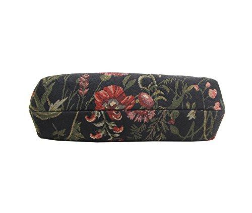 Borsetta donna Signare alla moda in tessuto stile arazzo a spalla borsa messenger a tracolla floreale Mattina Giardino Nero