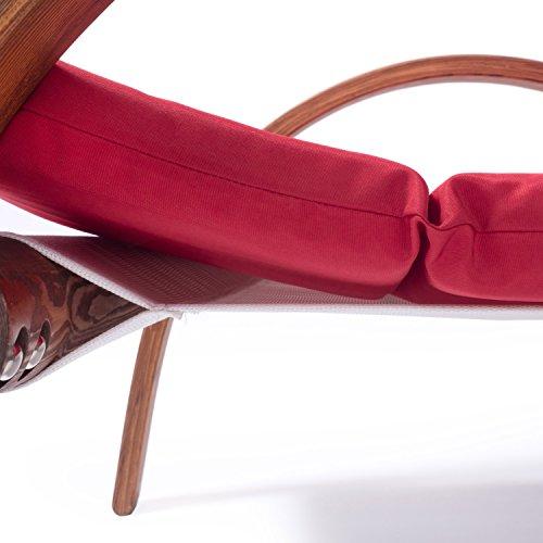 Lounge Gartenmöbel Set Malibu | Relaxsessel & 2er Sofa mit Armlehne, hoher Rückenlehne aus Holz | Gartenstuhl & Gartenbank mit Sitzauflagen rot - 5