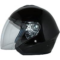 Casco de cara abierta V510 Casco de moto con visera brillante negro - M