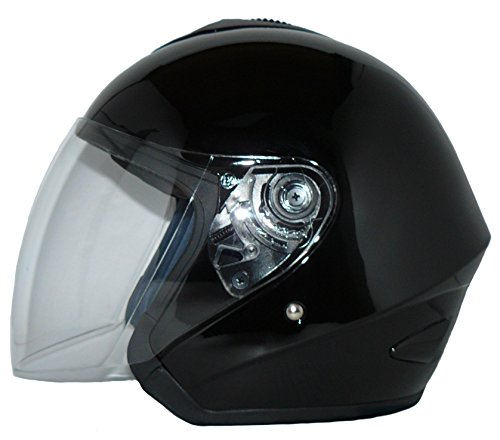 Protectwear Casco de cara abierta V510 Casco de moto con visera brillante negro - L