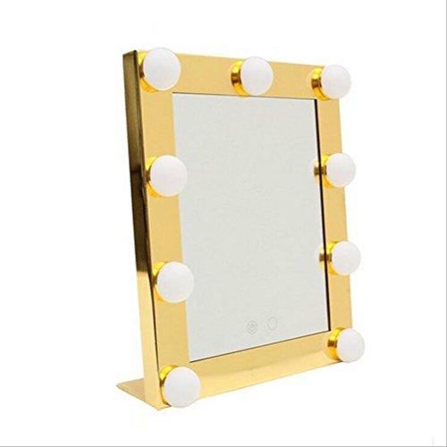 ZXLIFE Make-up-Spiegel mit Glühbirne Quadratisch Schminkspiegel LED-Lampenspiegel Berühren Sie...