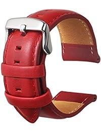 Cinturino Orologi Cuoio Genuino Di Vitello Uomini E Donne Cinturini Di Ricambio Adatta Per Orologi Moda Sportivi Smart Watch Rosso 20MM